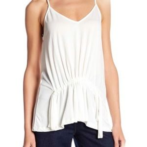 Lush Front Drawstring Camisole White Top